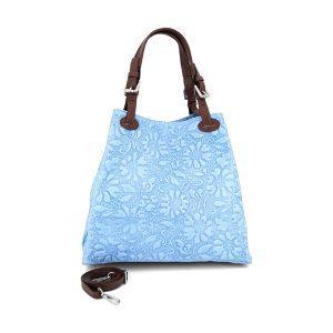 Geprägt florale Leder Handtasche - türkis