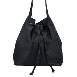 Leder Schulter - Shopper mit Innentasche schwarz