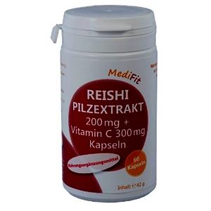 Reishi Pilzextrakt 200mg + Vitamin C 300mg Kapseln