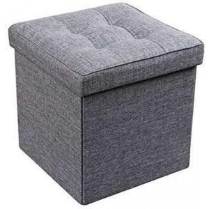 Aufklappbarer Hocker Faltbare Aufbewahrungsbox grau 38x38x38cm