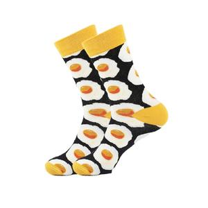 "Socken ""Eggs Multi"" black/eggs middl cut"