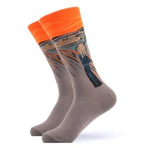 "Socken ""Edvard Munch, Schrei"", gray, middl cut"