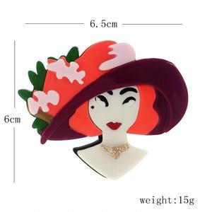 """Brosche """"Frau mit Hut"""" Hand Made, French Style"""