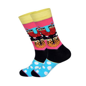 "Socken ""Cat Graffiti"", bunt, middl cut"