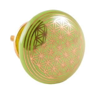 Möbelknauf - Türknauf Blume des Lebens - Keramik - grün
