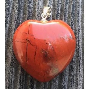 Roter Jaspis Herzanhänger mit Öse 2,5 cm - Heilsteine