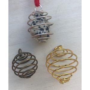 Spirale für Trommelsteine - Anhänger 2,5 cm - Heilsteine - gold