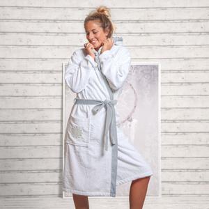 Damen-Bademantel mit Kapuze BIO Gr. S Om Spirit