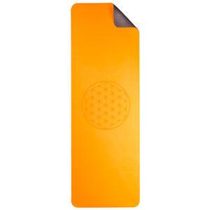 Yogamatte TPE ecofriendly6mm zweischichtig mit Blume des Lebens - orange