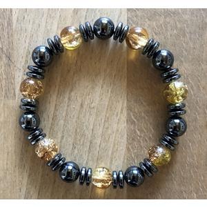 Armband Magnet-Hämatit - gelbe Perlen