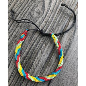 Armband - Textil - verstellbare Größe rot - blau - gelb