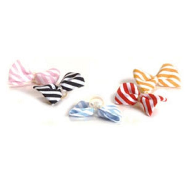 Haarmascherl Stripes mit Gummiring Rosa/Weiß