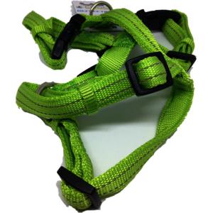 Nylon H-Geschirr Soft reflektierend, stufenlos verstellbar 20 x 500-650mm Grün