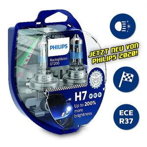 Philips H7 RacingVision GT200 +200% Rallye Halogen Scheinwerfer Lampe 12V Duobox Neuheit 2020