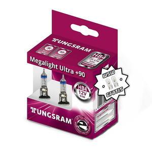 Tungsram HB4 Megalight Ultra +90% Halogen Scheinwerfer Lampe P22d 12V 51W Duobox + W5W T10 Standlicht