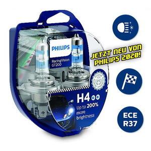Philips H4 RacingVision GT200 +200% Rallye Halogen Scheinwerfer Lampe 12V Duobox Neuheit 2020