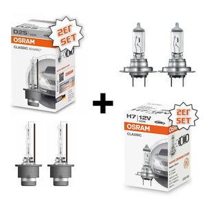 2x OSRAM D2S Xenon Brenner Auto Lampe Classic Line + 2x Osram H7 Halogen Lampe Classic Line Set