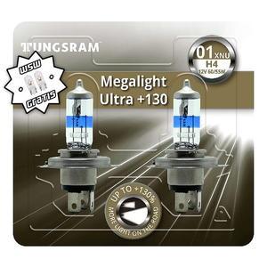 Tungsram H4 Megalight Ultra +130% Halogen Scheinwerfer Lampe P43t 12V 60/55W Duoblister + W5W T10 Standlicht