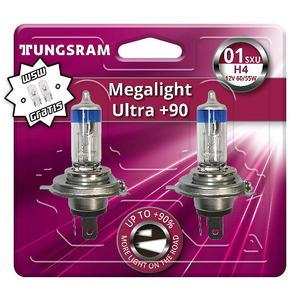 Tungsram H4 Megalight Ultra +90% Halogen Scheinwerfer Lampe P43t 12V 60/55W Duoblister + W5W T10 Standlicht