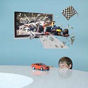 Wandsticker Rennauto - Aufkleber für Wand Möbel Glas Metal glatte Fläche