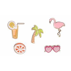 Brosche / Anstecknadel / Pins aus Metall - 5 Stück Set - Palme, Cocktail, Sonnenbrille, Flamingo