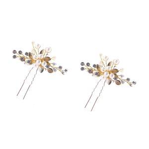 2 Stück Hochzeit Haarschmuck gold, Kristall Brautschmuck, Haarnadeln für Braut Brautjungfer Ha504