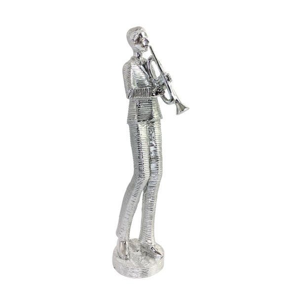 Trumpete-Spieler Figur für Zimmer Dekoration, Musiker Statue Porzellan, Silber-Finish 25 cm, Porzellan Mischung