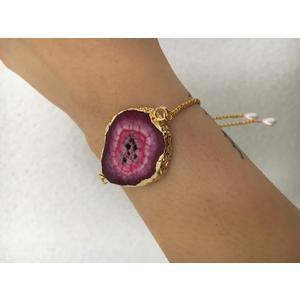 Damen-Armband Echt Achat pink mit Goldrand Armband gold