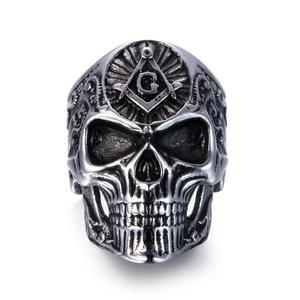 Deadhead Skull Totenkopf Ring Edelstahl Ring Biker Ring Gothic Silber für Herren Rocker Biker RE501 (59 (18.9))