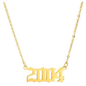 Damen Geburtsjahr Halskette gold 2004 aus Edelstahl ideales Geschenk
