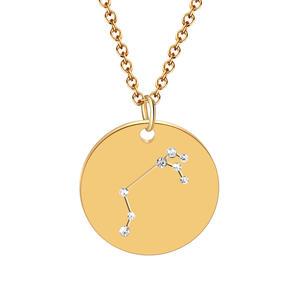 Sternzeichen Kette Zodiac Halskette Astrologie Konstellation Schmuck Edelstahl vergoldet rund (Widder)