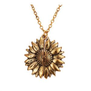 Beyond Halskette mit Sonnenblumen Anhänger zum Öffnen - You Are My Sunshine At098 Gold