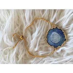 Damen-Armband Echt Achat blau mit Goldrand Armband gold