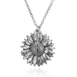 Beyond Halskette mit Sonnenblumen Anhänger zum Öffnen - You Are My Sunshine At098 Silber