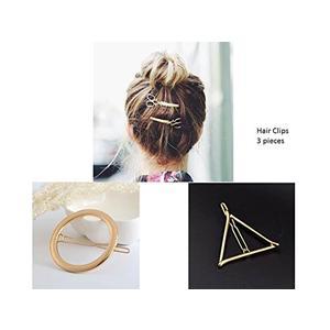 Haarspange Gold Haarschmuck Kopfschmuck 3 Stück Schere Kreis Dreieck Haarspange vergoldet
