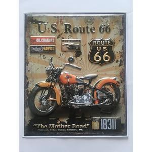 Motorrad Biker Route 66 3D Vintage Wandsticker Aufkleber für Motorrad Fans