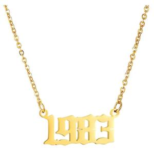 Damen Geburtsjahr Halskette gold 1983 aus Edelstahl ideales Geschenk