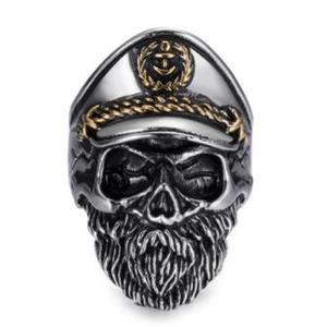 Deadhead Skull Totenkopf Kapitän Ring Edelstahl Ring Biker Ring Silber für Herren und Biker RE503 (62 (19.7))