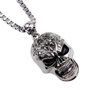 Deadhead Skull Totenkopf Halskette Gothic Silber für Herren Männer Biker HE703