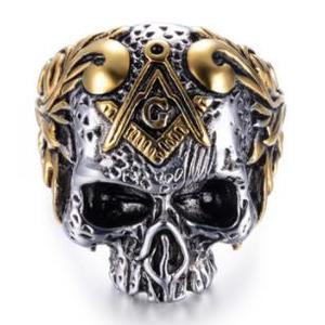 Deadhead Skull Totenkopf Ring Biker Ring Gothic Silber für Herren und Biker RZ602 (67 (21.3))