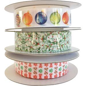 3 Bänder Weihnachten Ripsband Geschenkband Schleifenband Dekoband Länge 4,6m/Band Set 2