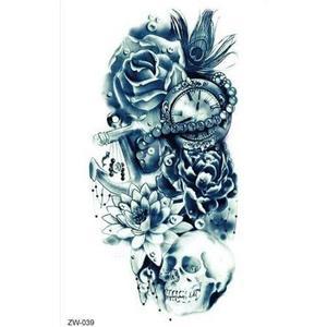 Totenkopf & Taschenuhr & Rosen Tattoo zw039 Skull