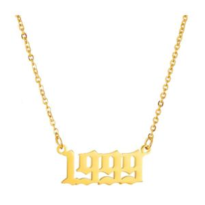 Damen Geburtsjahr Halskette gold 1999 aus Edelstahl ideales Geschenk