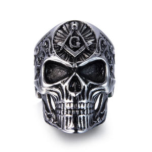 Deadhead Skull Totenkopf Ring Edelstahl Ring Biker Ring Gothic Silber für Herren Rocker Biker RE501 (67 (21.4))