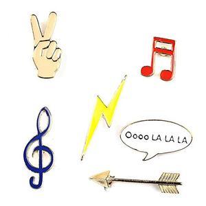 Brosche / Anstecker / Pins aus Metall - 6 Stück Set Musik - Musiknote, Pfeil, Blitz, Hand