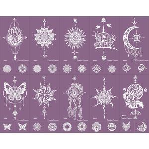 Mikronetz Tattoo Schablone für Henna Tattoo und Körperbemalung einfach und wiederverwendbar 10 Sheets Set Purple
