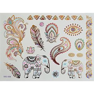 Elefanten, Federn, Blumen - temporäres XL Metallic Flash Tattoo sc06