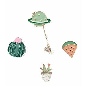 Brosche / Anstecknadel / Pins aus Metall - 4 Stück Set - Planet, Kaktus, Wassermelone, Blumentopf