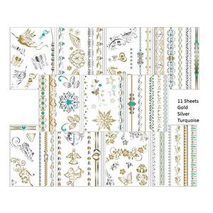 11 Bögen temporäre Metallic Flash Tattoos - Set Metallic - Gold, Silber, Türkis