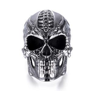 Deadhead Skull otenkopf Ring Biker Ring Gothic Silber für Herren und Biker RE504 (65 (20.7))